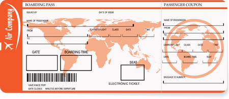 Vector pattern of airline boarding pass tickets with barcode