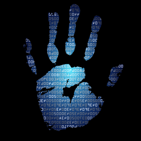 hexadecimal: with palmprints and hexadecimal code