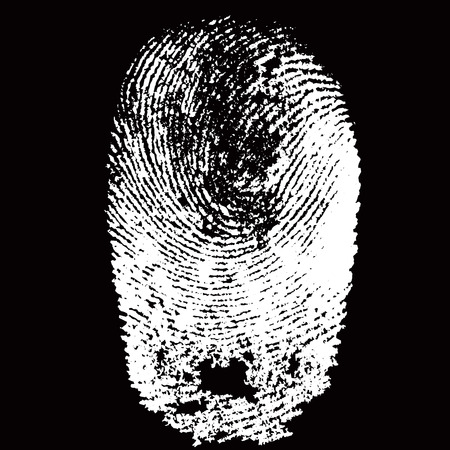 White fingerprint shape on black background