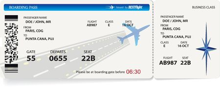 Vector pattern of airline boarding pass ticket