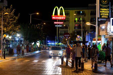 Night view on street in Protaras, Cyprus