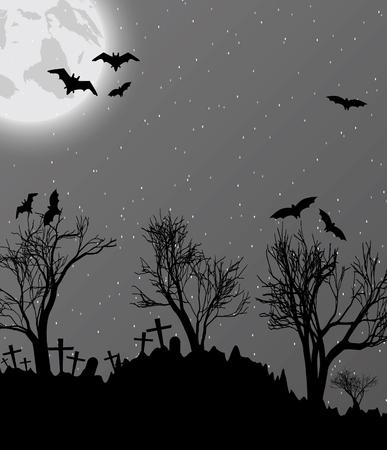 할로윈 배경 cemetry, 박쥐와 달