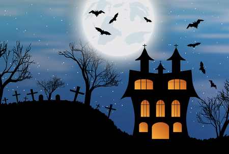 Halloween background with castle, bats and big moon. Vector illustration. Illustration