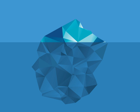 Vector illustration of iceberg in the ocean. Only small part of it under the water. Flat design