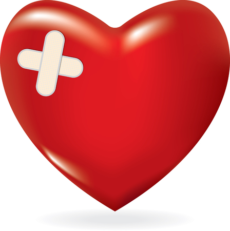 Red 3d heart with crossed plaster