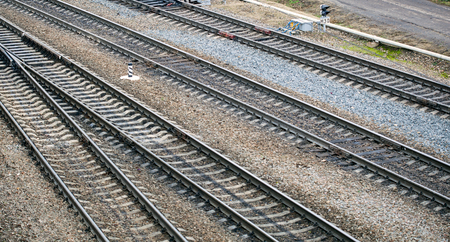 Top view of railway tracks