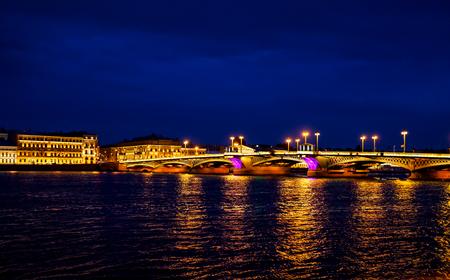 Blagoveshchensky drawbridge across the Neva River in St. Petersburg,