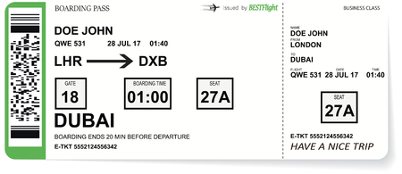 Airline boarding pass tickets to plane for travel