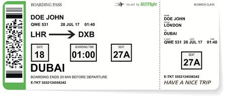 Billetes de pasaje de embarque de la aerolínea al avión para viajar. Foto de archivo - 93540793