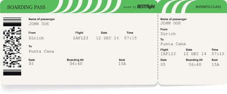 Green pattern of airline boarding pass tickets to plane for travel journey. Vector illustration Çizim