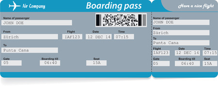 Airline boarding pass ticket. Concept of journey