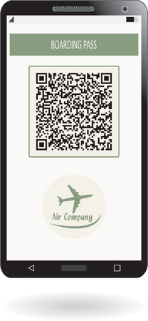 Mobile phone with boarding pass airline ticket. Stock Illustratie