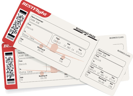 Red and white boarding pass airplane tickets. Vector illustration