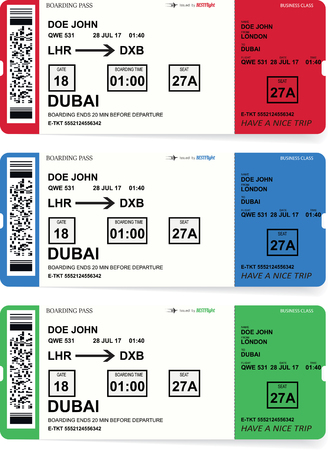 Airline boarding pass tickets set with shadow Illustration