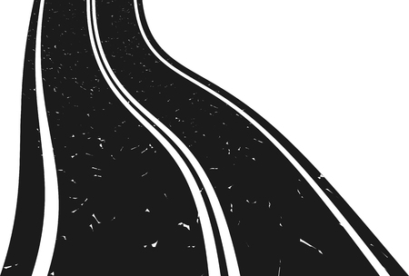 Curved asphalt road going to the distance. Illustration