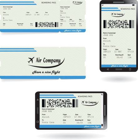 Mobile phone and paper boarding pass Vettoriali