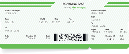 Airplane ticket blank. Green boarding pass Vettoriali