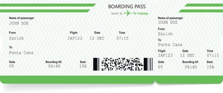 Airplane ticket blank. Green boarding pass Illustration