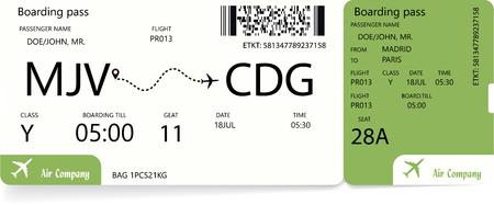 Boarding pass. Green airplane ticket. Vector illustration