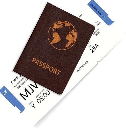 Vector airline passenger boarding pass tickets inside international passport. Realistic variant of travel concept Illustration
