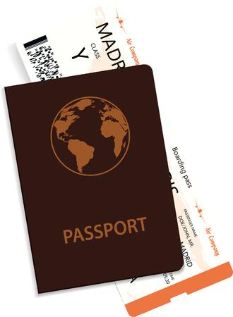 Vector airline passenger boarding pass tickets inside of passport.