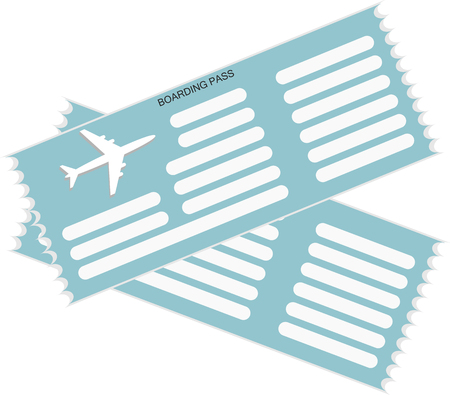 Two airplane tickets icon in blue colors. Flat design. Vector illustration.
