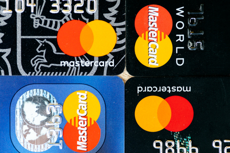 Four MasterCard credit cards.