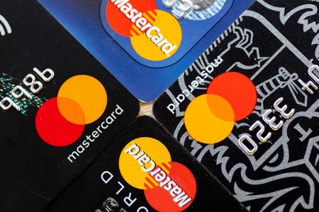 Four MasterCard credit cards. Imagens - 108788140