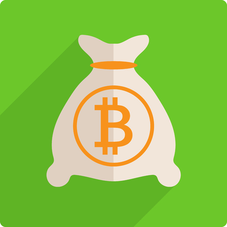 Money bag with bitcoin.