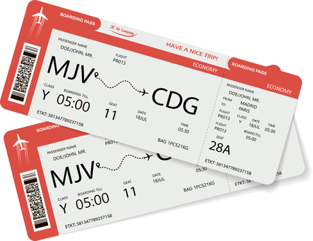 Vector illustration of two boarding pass. Red flight airline tickets.
