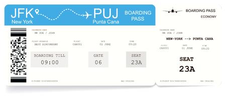Carte d'embarquement ou billet d'avion. Modèle de carte d'embarquement pour le vol de New-York à Punta Cana. Concept de voyage vers l'océan ou la mer. Illustration vectorielle