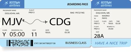 Flight ticket. Pattern of blue boarding pass. Vector illustration.