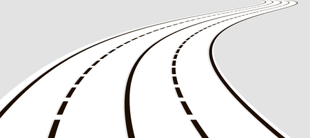 Vector illustration of curved road. Gray colors