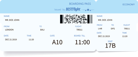 Detailed airplane ticket. Blue boarding pass coupon. Travel and journey concept