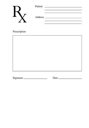Formulario de prescripción Rx en blanco. Concepto médico. Ilustración vectorial