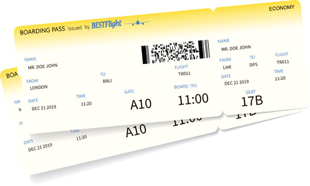 Airplane ticket template. Two yellow boarding pass coupons isolated on white background. Vector illustration Ilustração