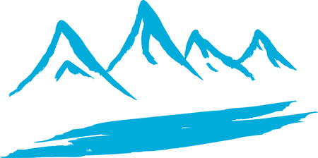 Vector illustration of snowing mountains