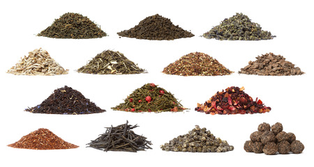 Collection of different dry tea. Isolated on a white