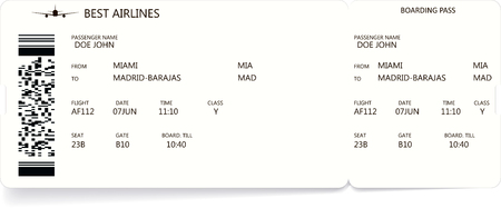 Pattern of a boarding pass and air ticket Stock Photo