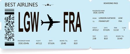 Airline boarding pass or airplane ticket. Journey and vacation concept. Vector boarding pass in light blue color for travel by airplane