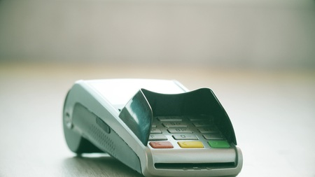 Payment terminal for paying with credit card Stock Photo