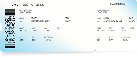 Blue realistic boarding pass ticket with information about passenger. Travel concept. Illustration