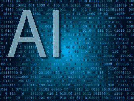 Artificial intelligence concept. Illustration of artificial intelligence over binary background Archivio Fotografico - 117021706