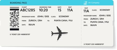 Boleto de avión realista azul o diseño de tarjeta de embarque con tiempo de vuelo irreal y nombre del pasajero. Ilustración de vector de patrón de una tarjeta de embarque