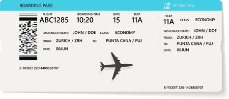 Blue realistic airline ticket or boarding pass design with unreal flight time and passenger name. Vector illustration of pattern of a boarding pass Illustration