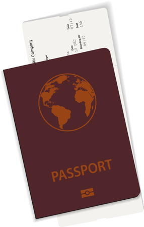Illustration du passeport et du billet ou de la carte d'embarquement. Vecteurs