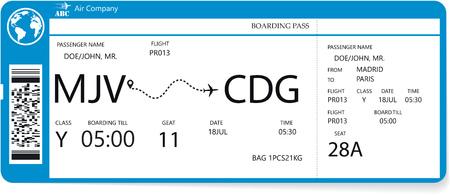 Realistisches Flugticketdesign mit nicht echtem Passagiernamen. Variante des Bordkartenmusters. Vektor-Illustration