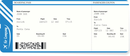 Blue boarding pass or airplane ticket isolated on a white background. Vector illustration. Travel concept Illustration