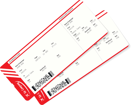 Modern and realistic airline ticket and boarding pass design with unreal flight data and passenger name. Vector illustration. Boarding pass needed for travel by plane. Journey or business trip concept