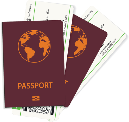 International passport and green boarding pass tickets isolated over white. Travel concept